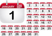 Calendar Icons for the month January — Vettoriale Stock