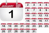 Iconos de calendario para el mes de enero — Vector de stock