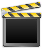 Kino klakier, clapboard, clapperboard, klaps filmowy w kolorze czarnym — Wektor stockowy