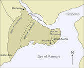 Mapa starożytnej bizancjum — Wektor stockowy