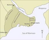 Mappa dell'antica bisanzio — Vettoriale Stock