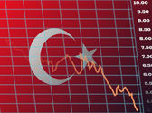 Charts and Graphs Downward Screen for Turkish Market — Vector de stock