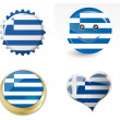Flag of greece in various shapes — Stock Vector