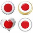 Flag of japan in various shapes — Image vectorielle