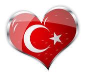 Flag of turkey in heart shape — Stock Vector
