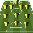 Football soccer field pitch vector with player jerseys — Imagen vectorial