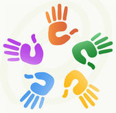Illustration of hand prints — Vector de stock