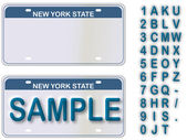 Empty License Plate New York With Editable Live Text — Cтоковый вектор