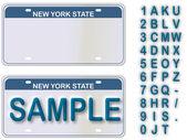 Puste tablice rejestracyjne nowy jork z żywo tekst do edycji — Wektor stockowy