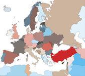 Barevná mapa evropy zemí — Stock vektor