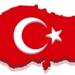 Turkey Map with Turkish Flag 3D — Stock Vector