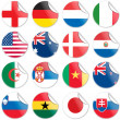 Uniforms of national flags participating in world cup in circular shape — Imagen vectorial