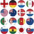 Vector de stock : Uniforms of national flags participating in world cup in circular shape
