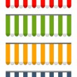 Four different colored vector awnings — Imagens vectoriais em stock