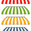 Four different colored vector awnings — Imagen vectorial