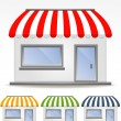 Storefront Awning in various colors — Stockvectorbeeld