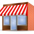 storefront awning in red — Stock Vector