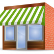 Storefront Awning in green — Vector de stock #19983121