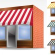 Four different color vector awnings — Imagen vectorial