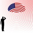 Silhouette of an army soldier saluting — Stockvektor