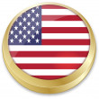 Flag of united state of america in in button shape — Imagens vectoriais em stock