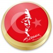 Flag of turkey and Ataturk, founder of turkey in button shape — Stock Vector #19985455