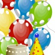 Birthday balloons and ornaments — Stockvektor