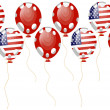 Red balloon of american flag — Grafika wektorowa