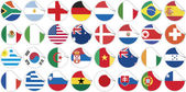 Uniforms of national flags participating in world cup in circular shape — Vector de stock