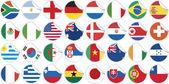 Uniformy národní vlajky, účastnící se mistrovství světa v kruhového tvaru — Stock vektor