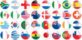 Uniforms of national flags participating in world cup in circular shape — Stock Vector