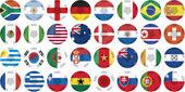 Uniformi di bandiere nazionali che partecipano alla coppa del mondo in forma circolare — Vettoriale Stock