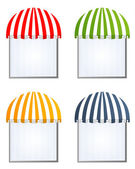 Four different colored vector awnings — Stok Vektör