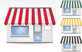 Four different color vector awnings — Stock Vector