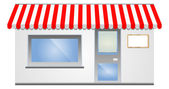 Storefront Awning in red — Vector de stock