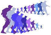 Color silueta de un soldados caminando — Vector de stock