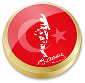 Flag of turkey and Ataturk, founder of turkey in button shape — Stock Vector