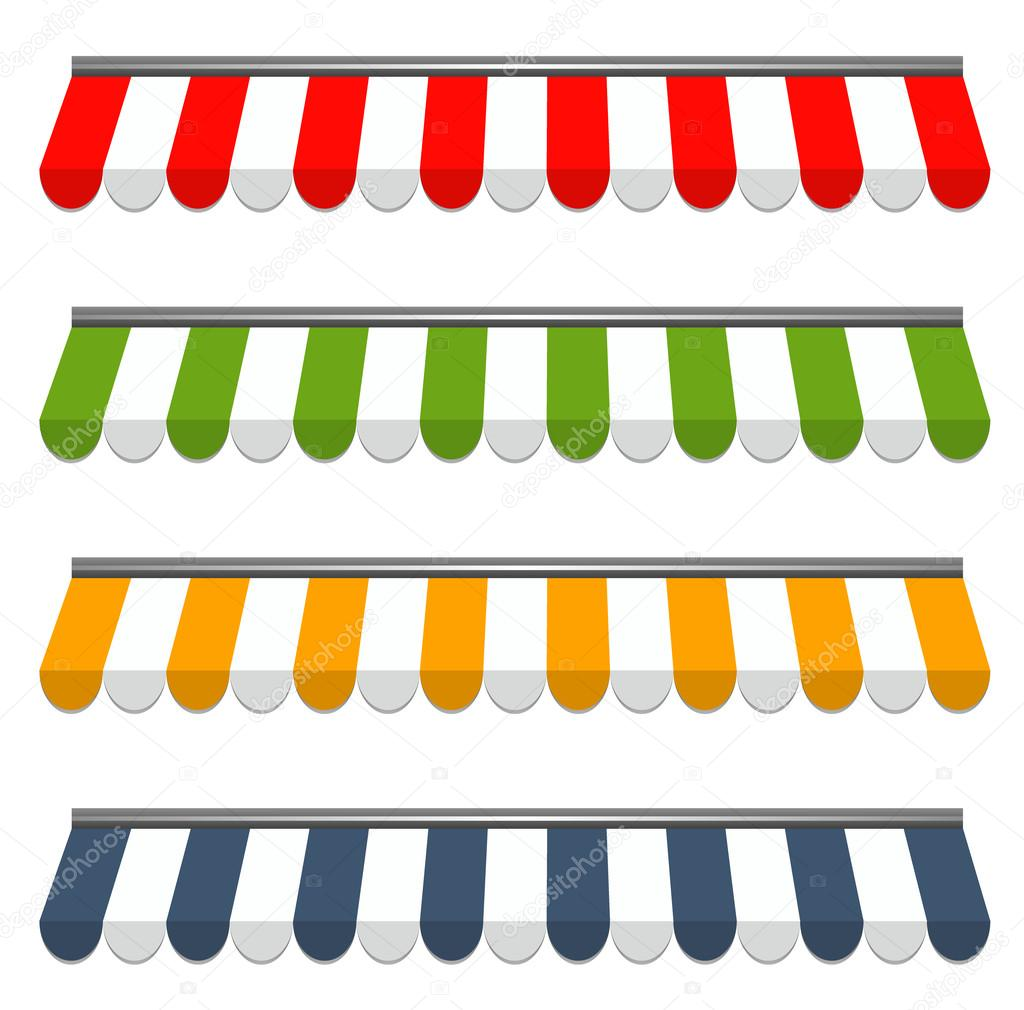 Four different colored vector awnings stock vector - Colores de toldos ...