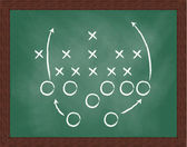 Game plan on blackboard — Foto Stock