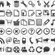 Black web icons with reflections on white background — Vettoriali Stock