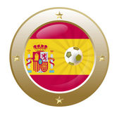 National flag of spain in circular shape with additional details — Stock Vector