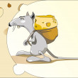 Mouse with a bag of cheese - Stock Vector
