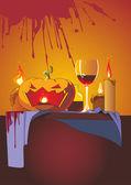 Halloween background. Pumpkin head — Stock Vector