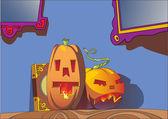 Two halloween pumpkin head — Stock Vector