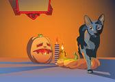 Halloween creeping cat. — Stock Vector