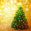 Christmas tree on golden background, greeting card. — Stock Photo