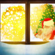Vector of Santa Claus  through window. Merry Christmas! - Stock Photo