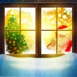 Vector of Santa Claus  through window. Merry Christmas! — ストック写真