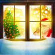 Vector of Santa Claus  through window. Merry Christmas! — Stockfoto