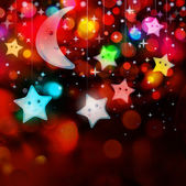 Moon and stars on colorful lights background — Stok fotoğraf